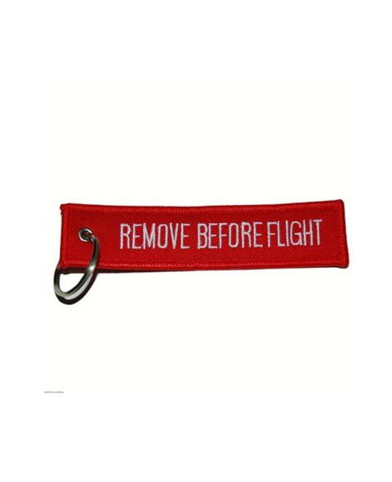 """Portachiavi in Tessuto Rosso """"Remove Before Flight"""""""