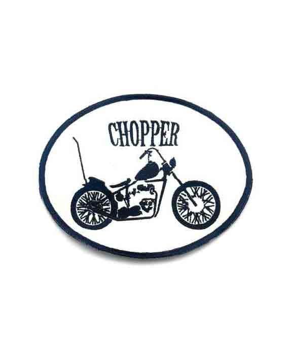 """Patch Motoiclista Ovale con Moto e scritta """"CHOPPER"""""""